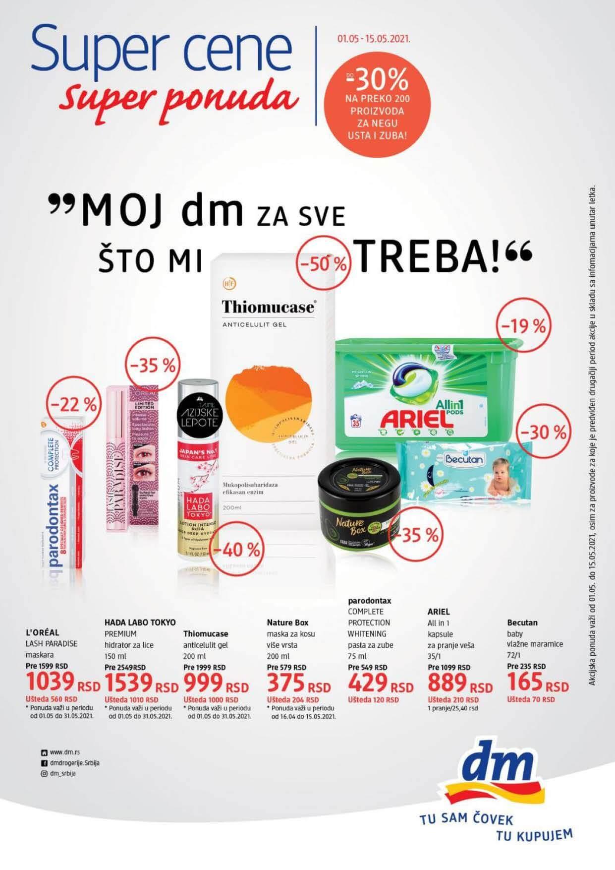 DM katalog SUPER CENE Srbija MAJ 2021 01.05.2021. 15.05.2021. Page 1