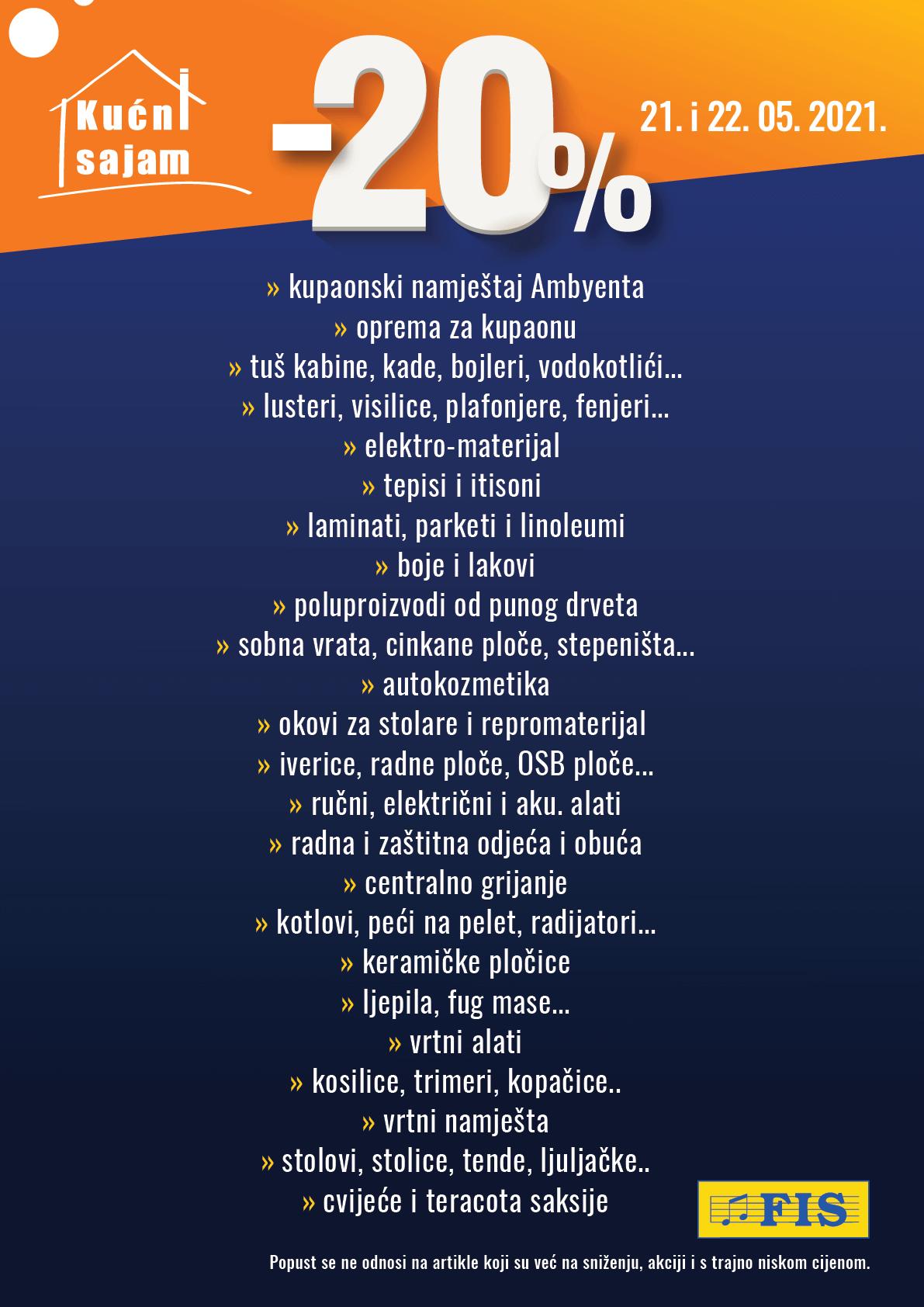 FISov Katalog Kucni sajam akcija MAJ 2021 21.05.2021. 22.05.2021. 2